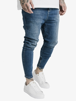 Sik Silk Drop Crotch Straight Fit Jeans Midstone