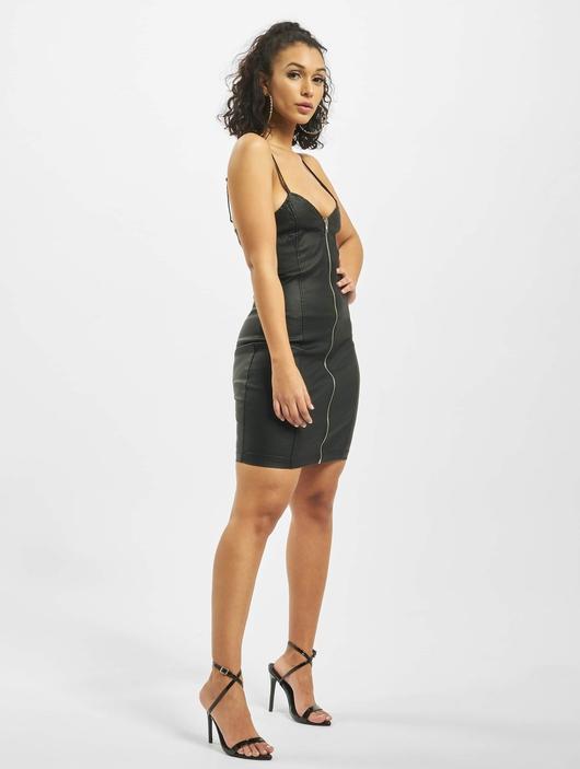 Missguided Coated Zip Through Denim Cami Dress Black image number 4