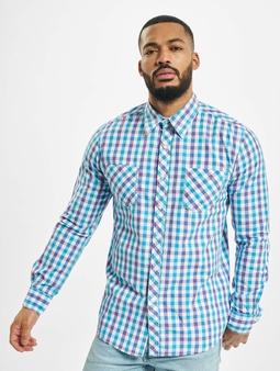 Urban Classics Tricolor Big Checked Shirt Purple/White/Turqu