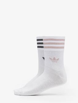 Adidas Originals 2 Pack Mid Cut Glitter Socks White/Pink Tint