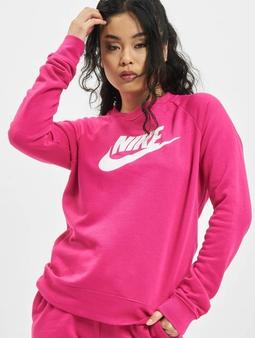Nike W Nsw Essntl Flc Gx Crew Longsleeve Fireberry/White