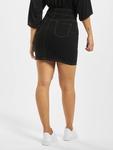 Missguided Corset Waist Denim Black Skirt Black image number 1