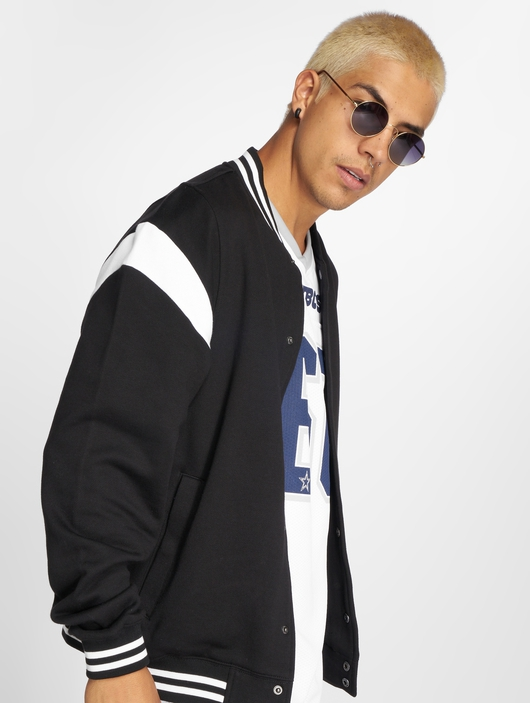 Urban Classics Inset College Jacket Black/White image number 0