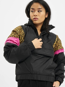 Urban Classics Ladies AOP Mixed Pull Over Jacket Black/Leo