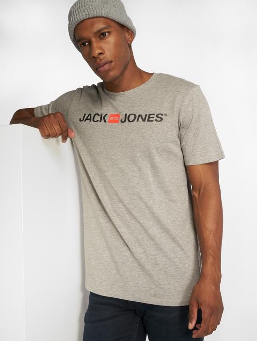 Jack & Jones jjeCorp Logo T-Shirt Light Grey Melange image number 2