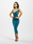 Missguided Slinky Chain Detail Cowl Midi Dress Teal image number 3