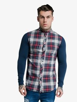 Sik Silk Flannel Check Grandad Shirt