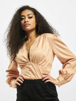 Missguided Covered Button Plunge Bodysuit Toffee