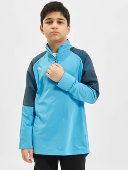 Puma Performance 1/4 Zip Junior Longsleeve Bleu Azur/Red Blast