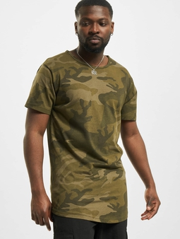 Urban Classics Camo Shaped Long T-Shirt Olive Camo