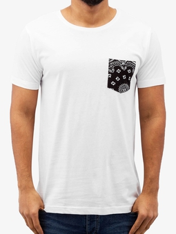 Urban Classics Contrast Pocket T-Shirt White/Black Bandana