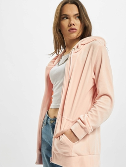 Urban Classics Ladies Velvet Zip Hoody Pink