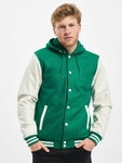 Urban Classics Hooded Oldschool College Jacket Green/White image number 2