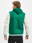 Urban Classics Hooded Oldschool College Jacket Green/White image number 1