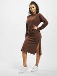 Missguided Tie Belt Midi Sweater Dress Chocolate image number 0