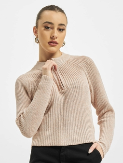 Only onlJuna Life Zip Knit Sweater Misty Rose/W. White Melange