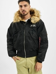 Alpha Industries 45P Hooded Custom Bomber Jacket Black/Refle image number 2