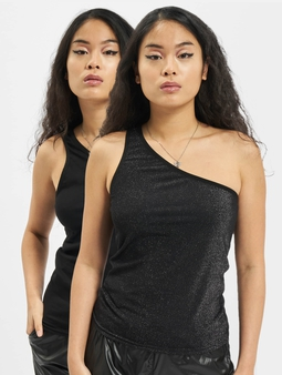 Urban Classics Ladies Asymetric Lurex 2 Pack Top Silvern