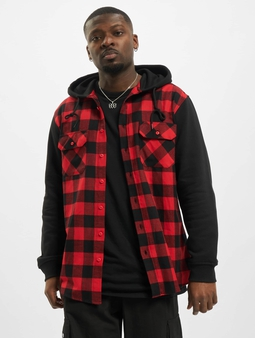 Urban Classics Hooded Checked Flanell Sweat Sleeve Shirt Bla