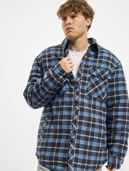 Urban Classics Plaid Quilted Shirt Jacket Light Blue/Dark