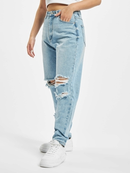 Missguided Petite Knee Rip Riot  Mamma Jeans blå