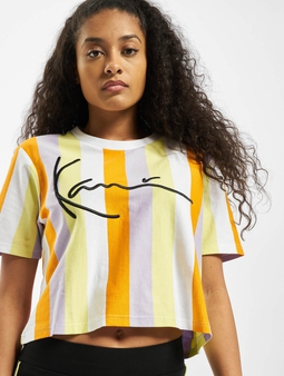Karl Kani Kk Signature Stripe Crop Wide T-skjorter hvit