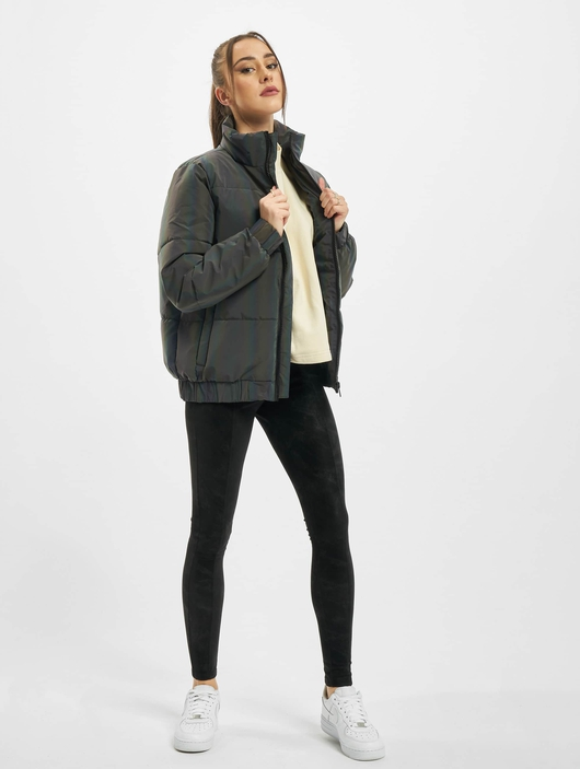 Urban Classics Ladies Iridescent Reflectiv Puffer Jacket Rainbow Darksilver image number 5