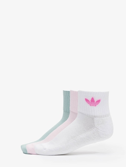 Adidas Originals 3 Pack Mid Ankle Socks White/Clear Pink/Hazy Green