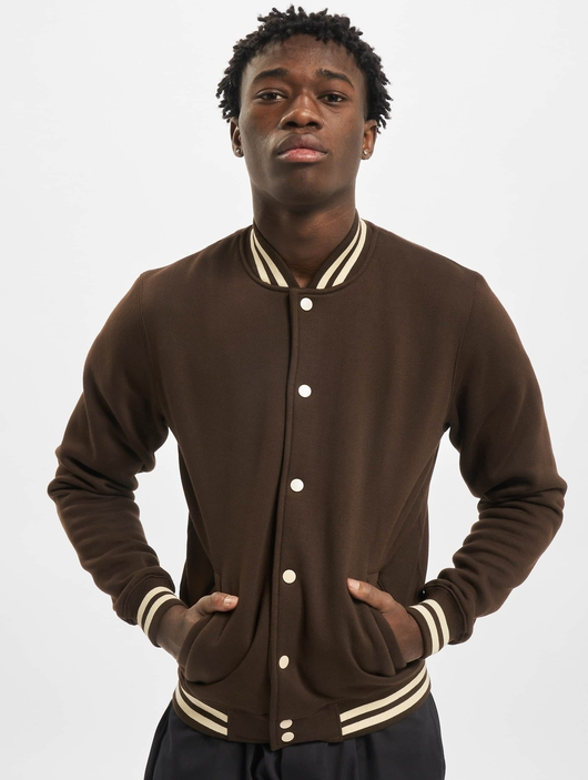 Urban Classics Contrast Sweat College Jacket Brown/Beige image number 2