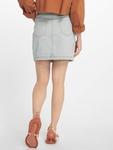 Missguided Double Popper Zip Denim Skirt Light Blue image number 1