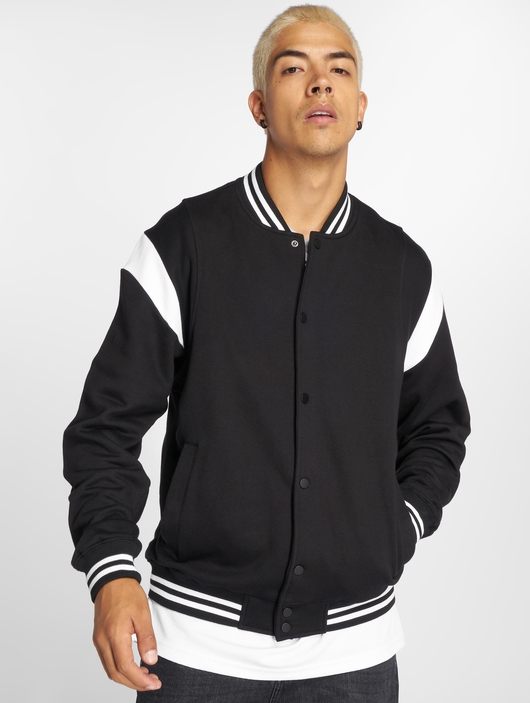 Urban Classics Inset College Jacket Black/White image number 1