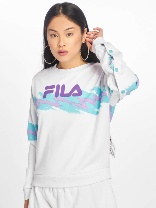 Fila Urban Line Buttoned Justyna Sweatshirt Bright White/Blue Curacao image number 2