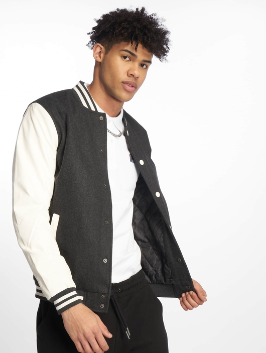 Urban Classics Oldschool College Jacket Charcoal/White (M gr image number 0