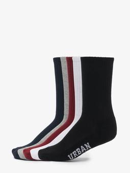 Urban Classics Logo Sport 5-Pack Socks Black/White/Grey/Burgundy/Navy