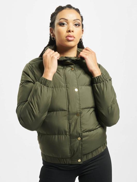 Urban Classics Hooded Puffer Jacket Dark Olive image number 2
