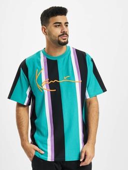 Karl Kani Kk Signature Stripe T-Shirt Turquoise/Black/White