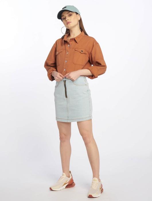 Missguided Double Popper Zip Denim Skirt Light Blue image number 5