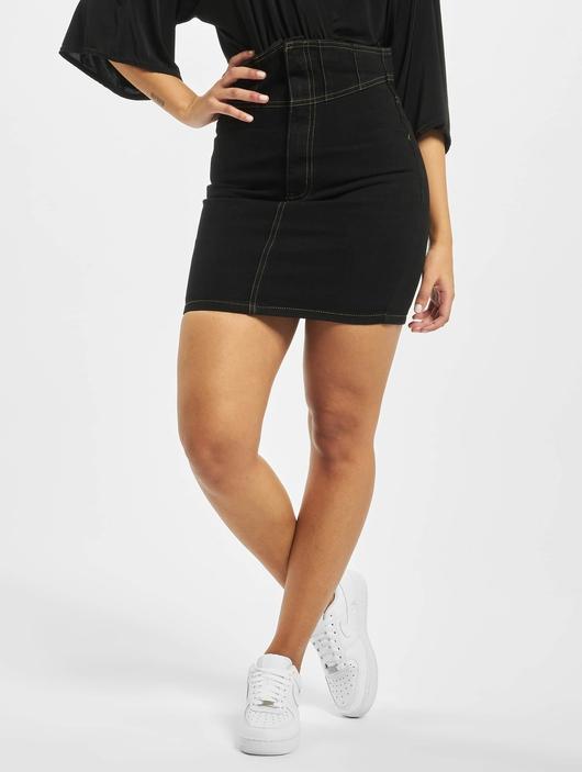 Missguided Corset Waist Denim Black Skirt Black image number 0
