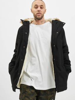 Urban Classics Heavy Cotton Imitation Fur Parka Black