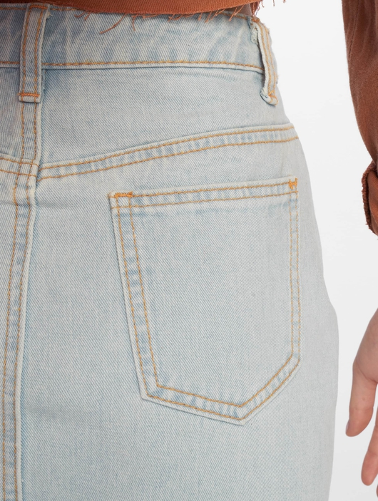 Missguided Double Popper Zip Denim Skirt Light Blue image number 4