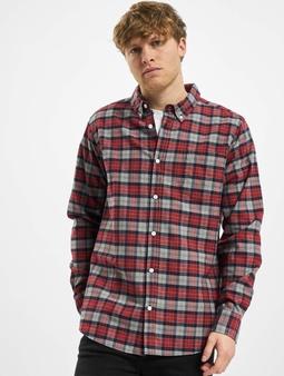 Urban Classics Plaid Cotton Shirt Asphalt/Red