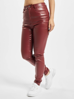Missguided Faux Leather Trouser Wine