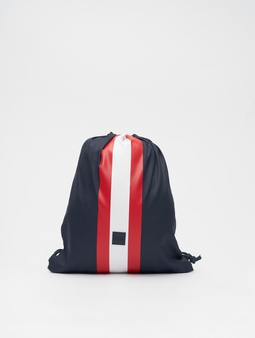 Urban Classics Striped Gym Bag Navy/Fire Red/White