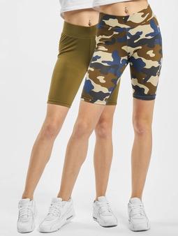 Urban Classics High Waist Camo Tech Cycle Double Pack Shorts Summer Olive Camo/Summer