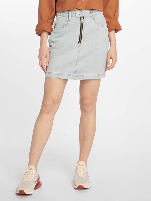 Missguided Double Popper Zip Denim Skirt Light Blue image number 2