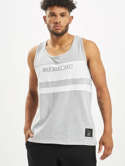 Who Shot Ya? Force Tank Top Grey Melange/White