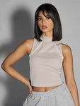 Sixth June Reflective Piping Crop Top Beige image number 3