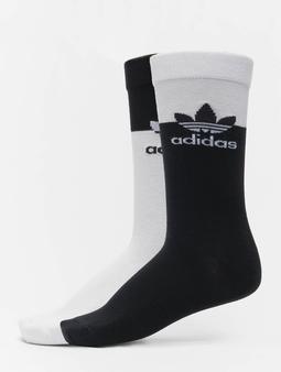 Adidas Originals 2 Pack Blocked Thin Socks White/Black