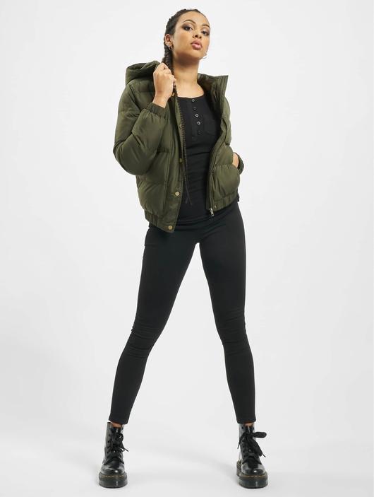 Urban Classics Hooded Puffer Jacket Dark Olive image number 7