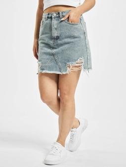 Missguided Distress Hem Denim Skirt